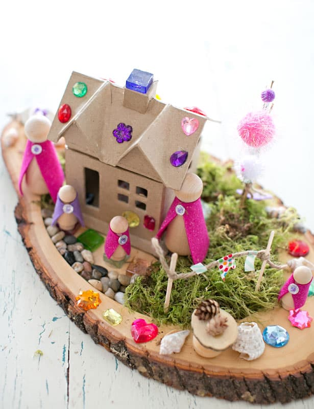 DIY magical fairy house of a box with gemstones (via www.hellowonderful.co)