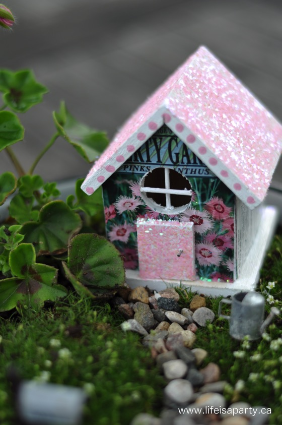 DIY cute fairy houses with touches of glitter (via www.lifeisaparty.ca)