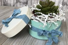 DIY painted paper mache gift boxes with ribbons