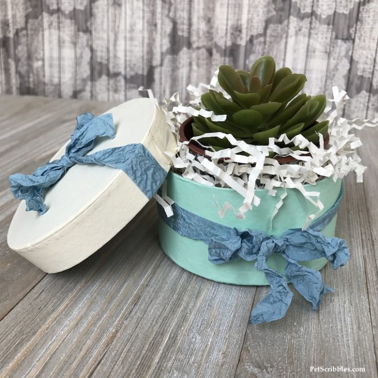 DIY painted paper mache gift boxes with ribbons (via www.petscribbles.com)