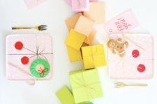 DIY rainbow paper mache gift box table runner