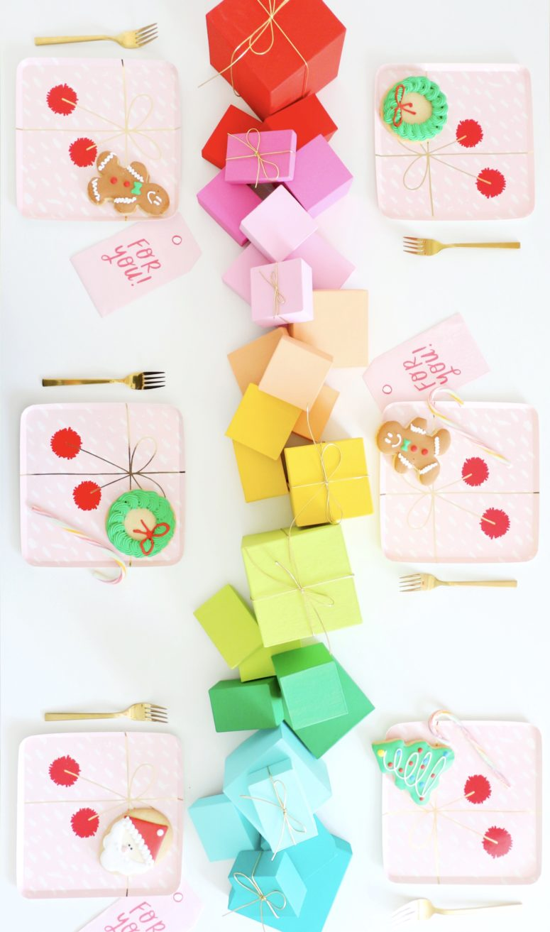 DIY rainbow paper mache gift box table runner (via akailochiclife.com)