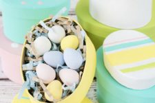 cute pastel DIY Easter gift boxes for candies