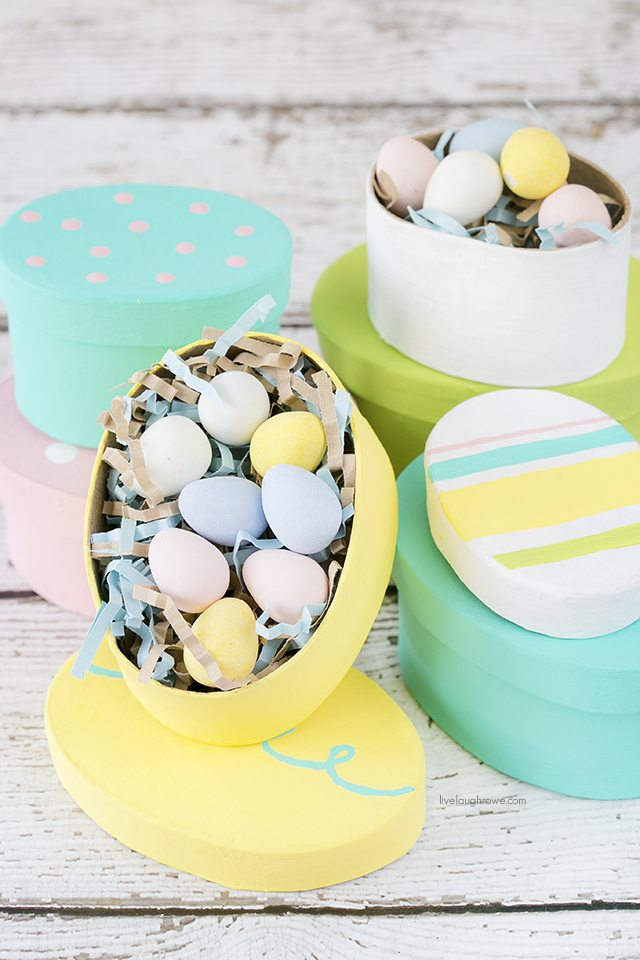 cute pastel DIY Easter gift boxes for candies (via livelaughrowe.com)