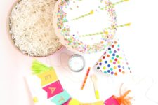 DIY colorful cake birthday party gift box