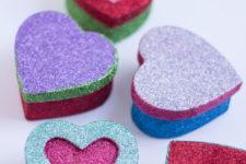 DIY glitter heart paper mache gift boxes