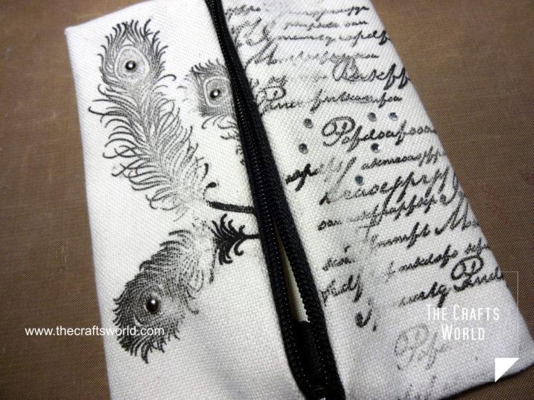 DIY no sew makeup tote with rhinestones  (via thecraftsworld.com)