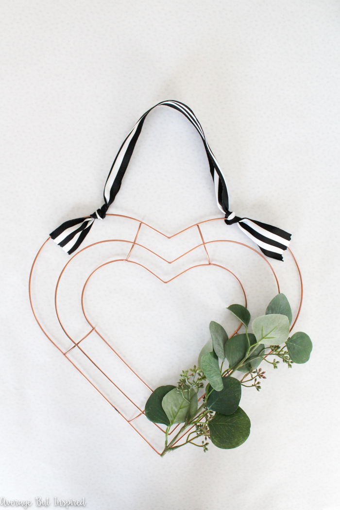 DIY modern metal heart shaped wreath for Valentine's Day