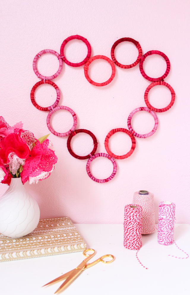 DIY yarn wrapped heart wreath for Valentine's Day