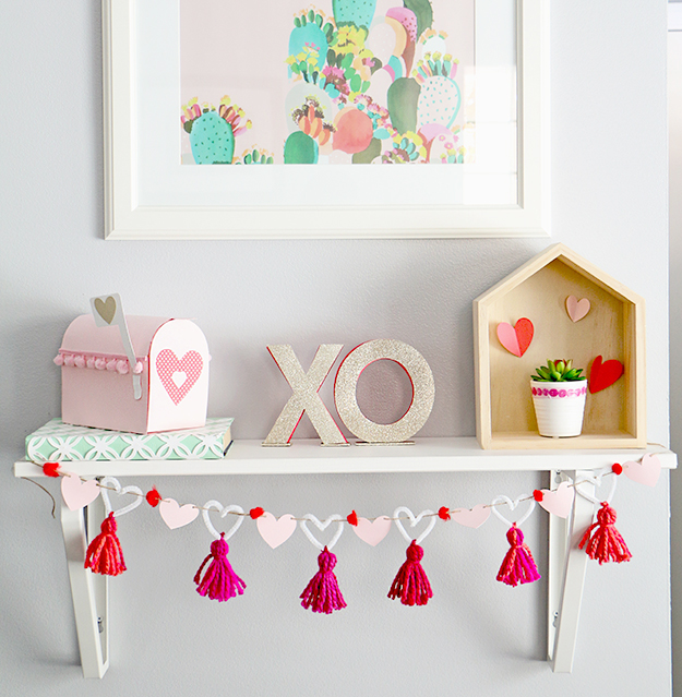 DIY heart, tassel and pompom garland for Valentine's Day