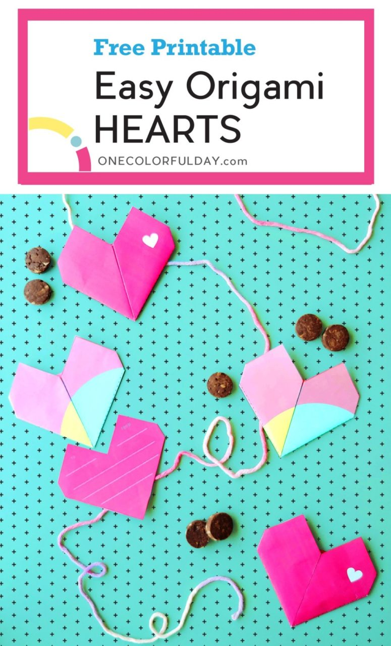 DIY colorful origami heart garland for Valentine's Day (via www.onecolorfulday.com)