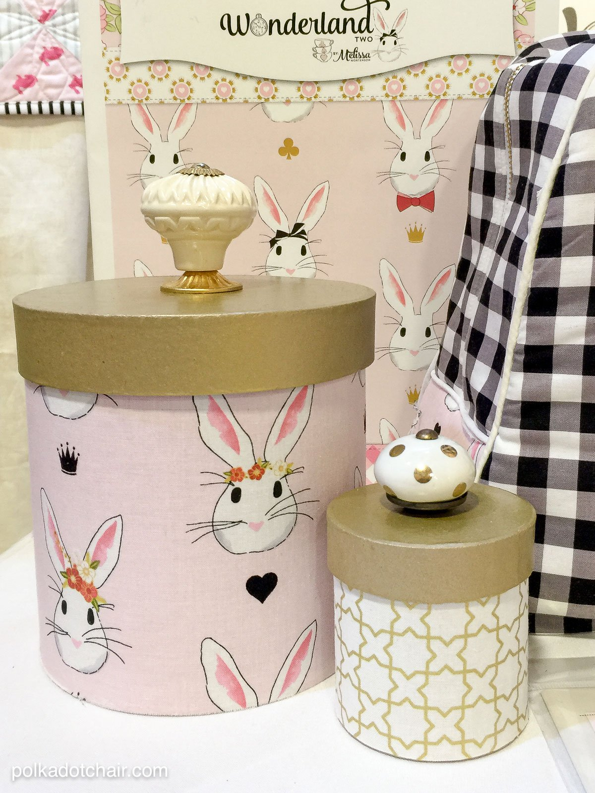 DIY fabric covered paper mache storage boxes