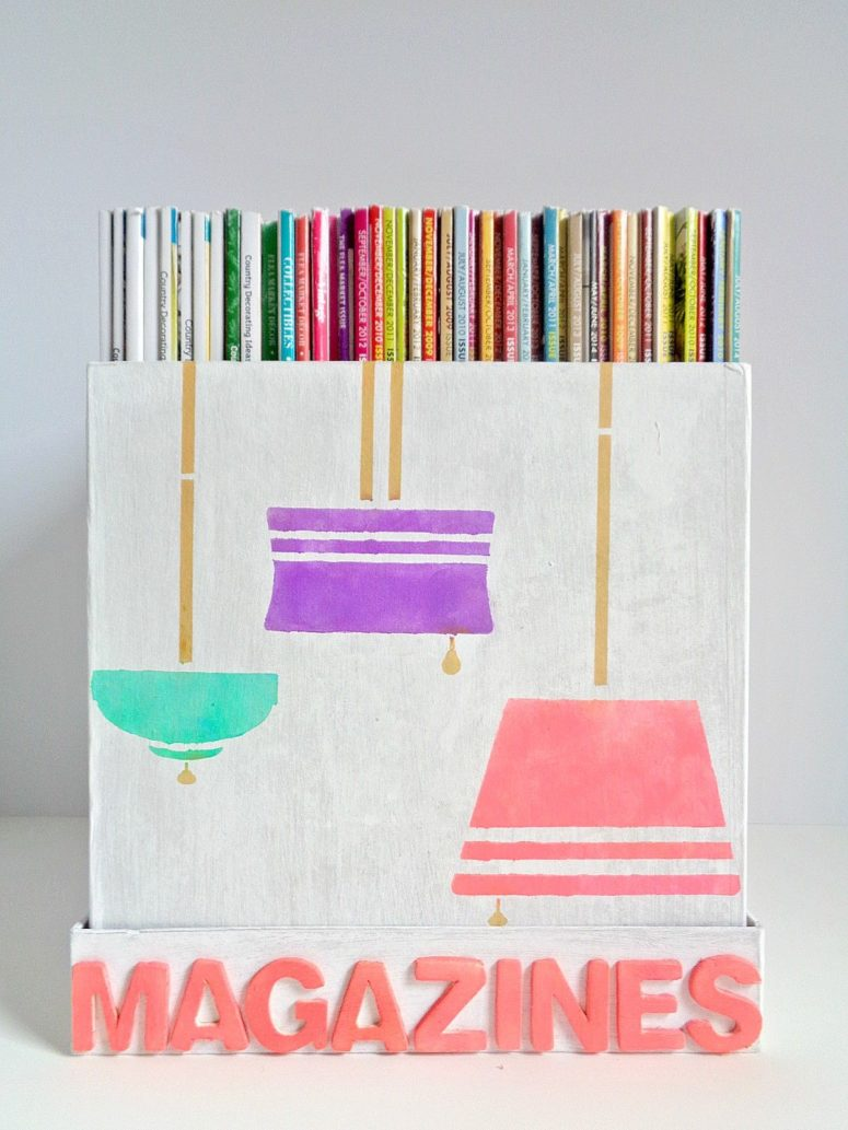 DIY paper mache magazine storage box (via www.homedit.com)