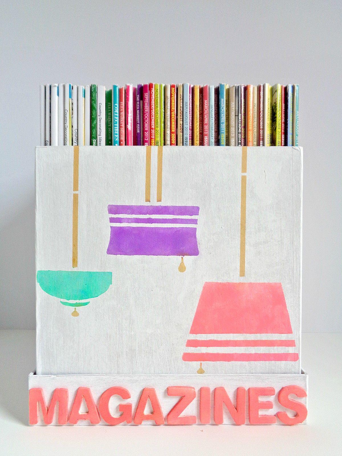 DIY paper mache magazine storage box