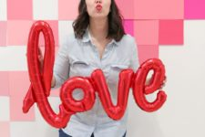 DIY ombre geometric Valentine's Day photo backdrop