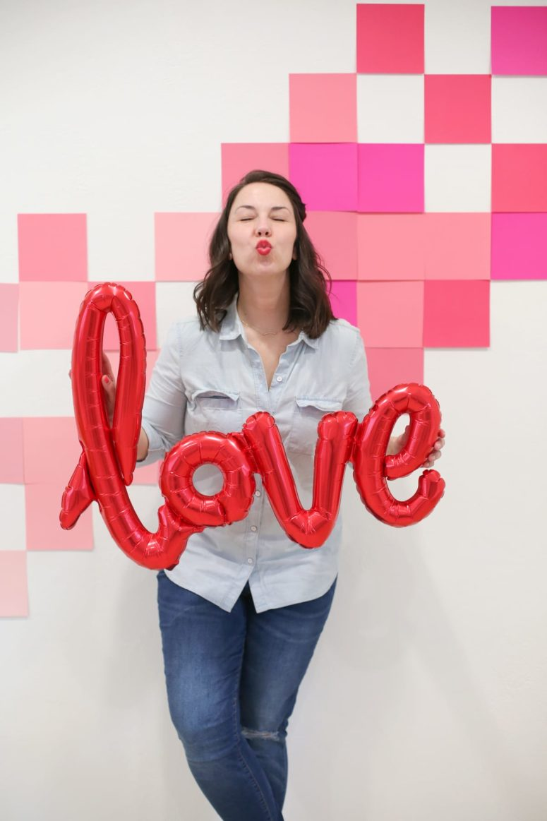 DIY ombre geometric Valentine's Day photo backdrop (via lovelyindeed.com)