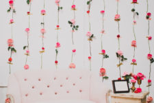 DIY fresh flower wall as a photo backdrop for parties