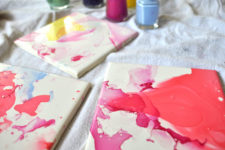 DIY watercolor effect tile coasters with nail polishes