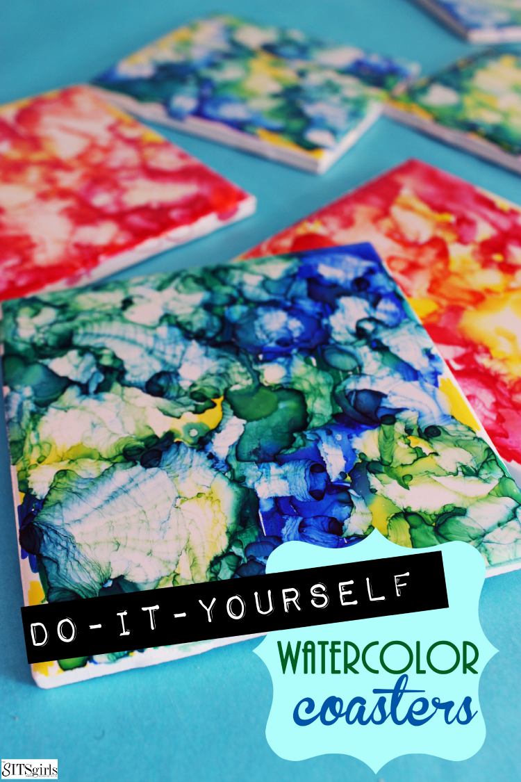 DIY bright watercolor coasters with sharpie markers (via www.thesitsgirls.com)