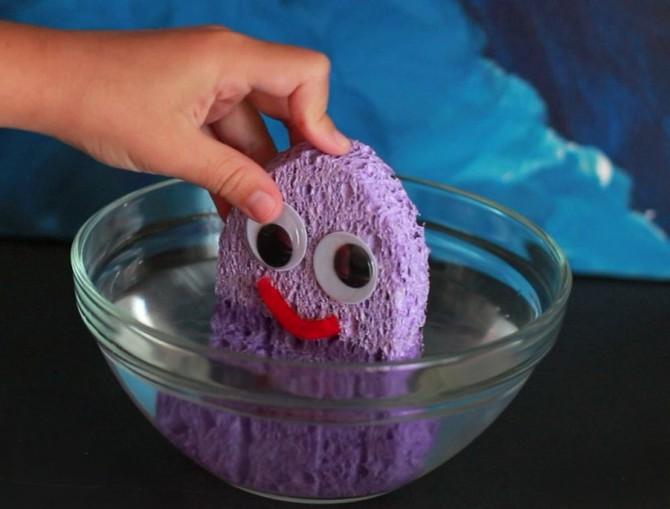 DIY colorful sponge bath toy with googly eyes (via www.pbs.org)