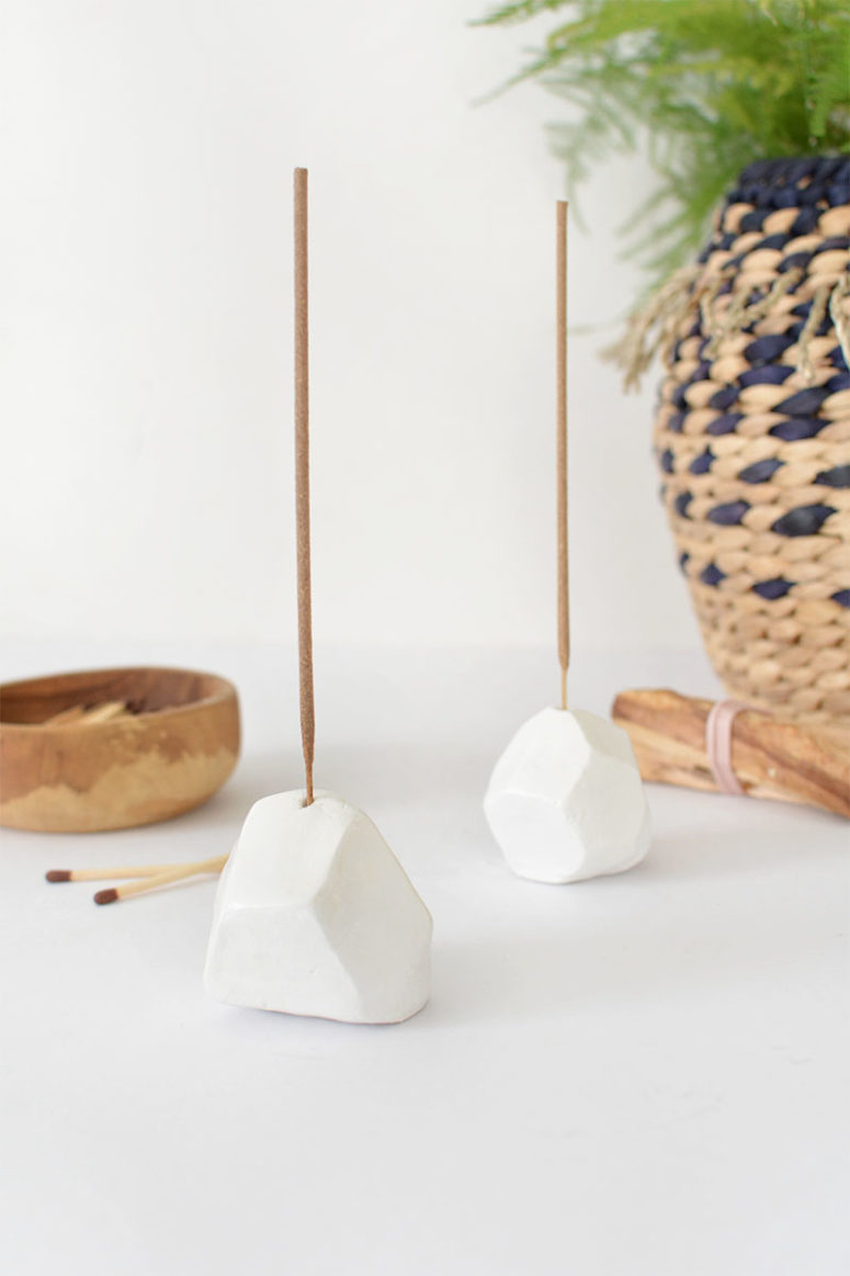 DIY air dry clay faceted incense holder (via www.burkatron.com)