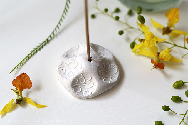 DIY patterned air dry clay incense holder