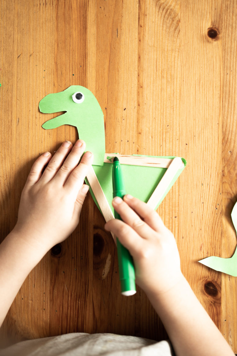 diy popsicle stick dinosaurs to make with kids