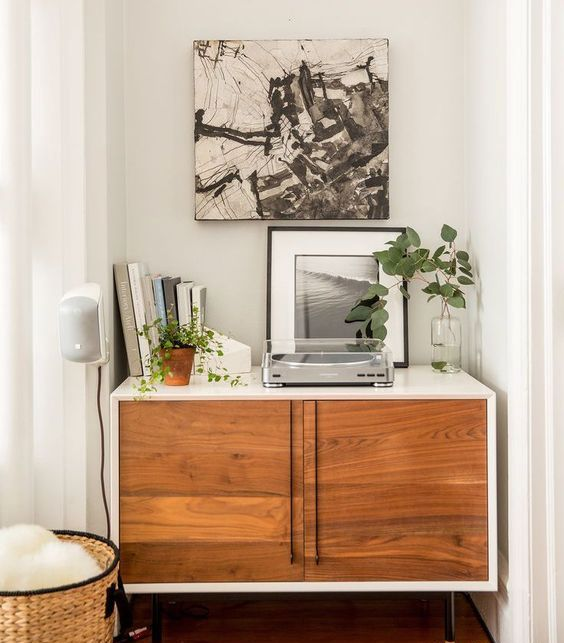 DIY Metod hack with stained doors, thin handles and legs to achieve a mid century modern look