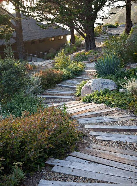a simple garden path of wooden planks and gravel mixed for a rustic and relaxed feel