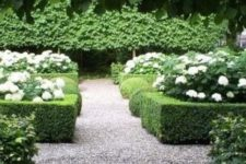 a formal or classic garden with gravel pathways – gravel is a cool idea for such a garden with large paths