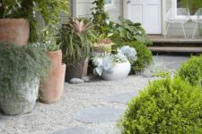 a gravel path with large rocks is classics that always works for a garden, which doesn't look formal