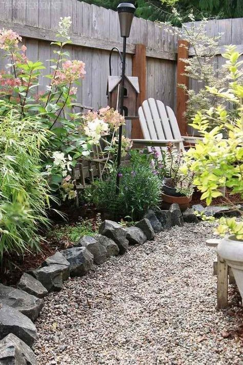 a gravel path with rocks lining it looks very natural and is ideal for a boho garden