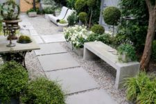chic garden pathways with gravel and large paving stones make up a very successful combo