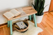 DIY IKEA Skogsta bench hack with bright paint and rope