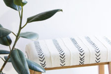 DIY plain IKEA bench into a boho chic one with mudcloth