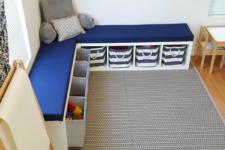 DIY L-shaped comfy storage bench of Kallax or Expedit