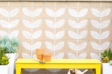 DIY bright yellow IKEA Nornas bench hack