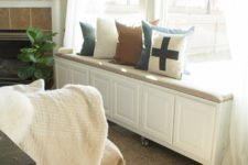 DIY window seat with plenty of storage using IKEA items