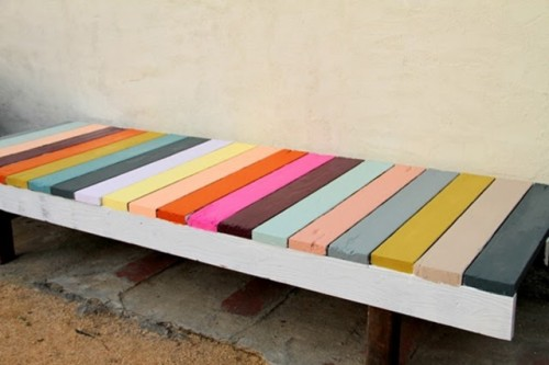 DIY super colorful IKEA Sigurd bench hack (via undefined)