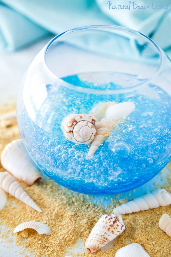 DIY ocean slime with seashells and clear touches (via www.naturalbeachliving.com)