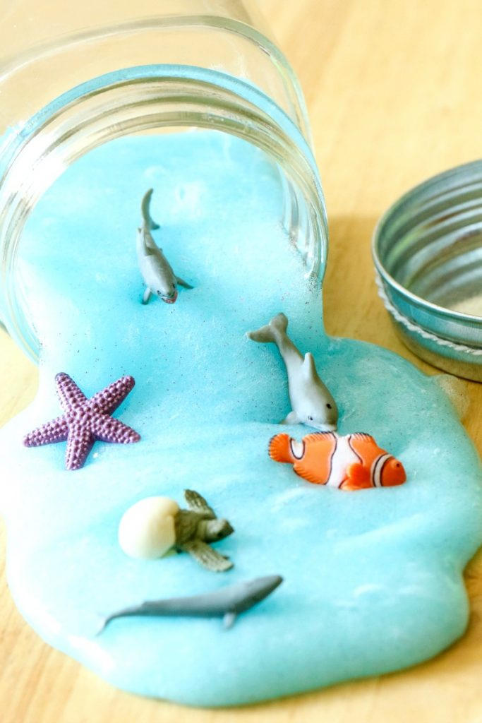 DIY aqua colored ocean slime with sea creatures
