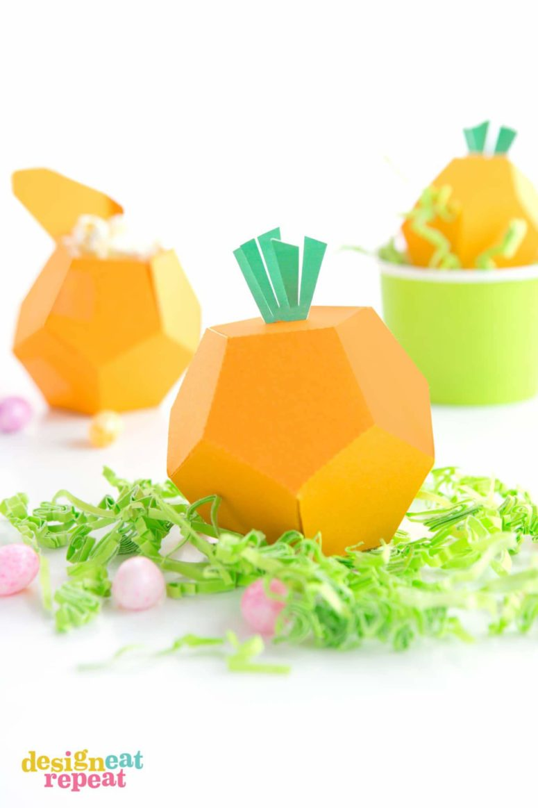 DIY printable carrot treat box holder for Easter (via undefined)