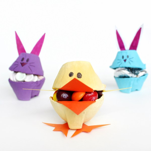 DIY colorful chick and bunny candy holders for Easter