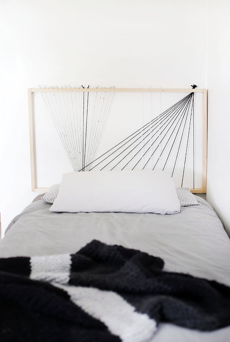DIY minimalist string art headboard (via undefined)