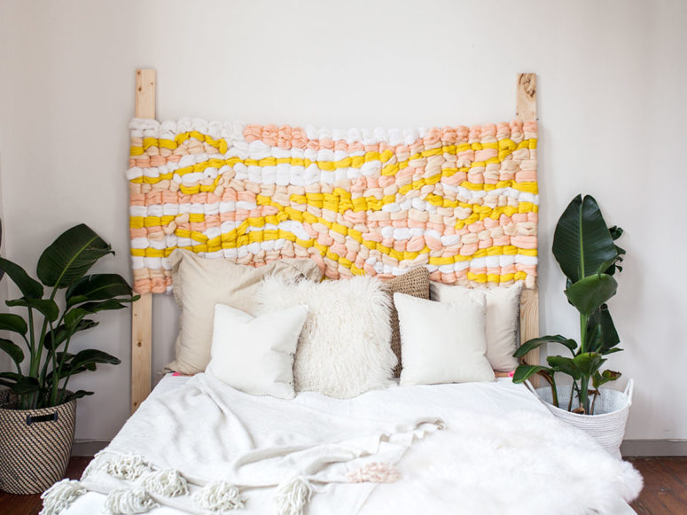 DIY pastel woven headboard (via undefined)