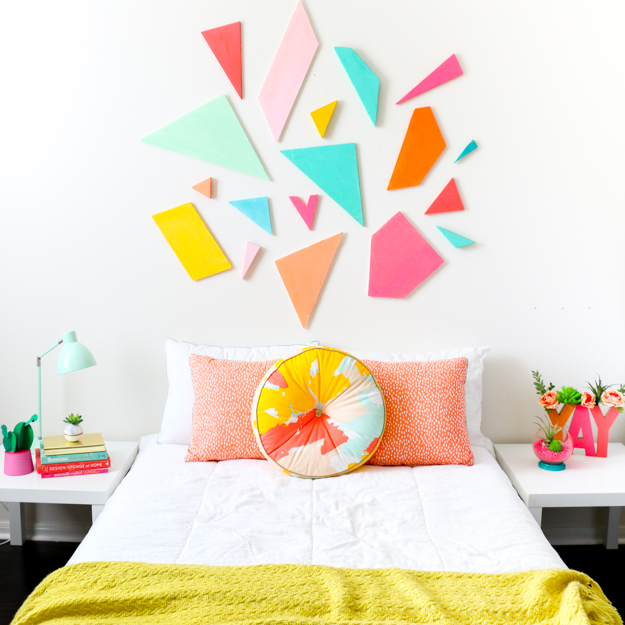 DIY bright geometric headboard for a touch of color (via undefined)