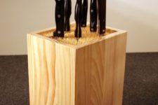 DIY knife block with wood skewers inside