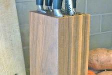 DIY stylish walnut knife block