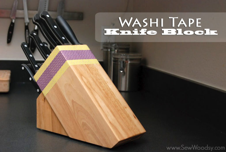 DIY wooden knife block decorated with washi tape (via undefined)