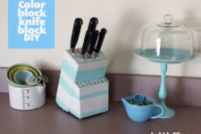 DIY color block wooden knife block